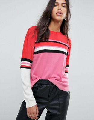 ASOS Jumper with Crew Neck in Colour Block Stripe