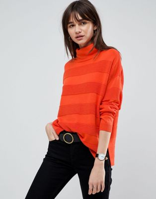 ASOS Jumper with High Neck and Stripe Ripple Stitch