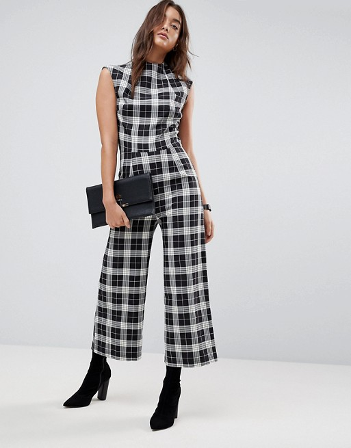 ASOS Jumpsuit with High Neck and Wide Leg in Check