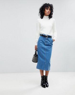 ASOS - Jupe mi-longue en jean - Bleu délavé moyen