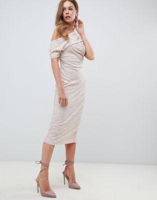 ASOS - Kanten midi-jurk met geplooide schouders