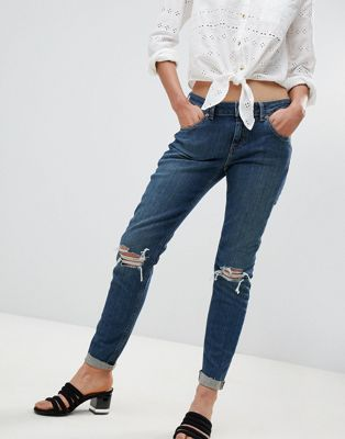 ASOS KIMMI Shrunken Boyfriend Jeans in Misty Aged Vintage Wash with Busts and Rips