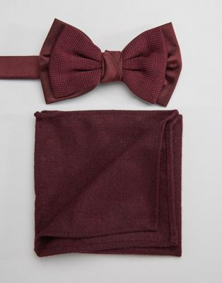 ASOS Knitted Bow Tie And Pocket Square Set In Burgundy
