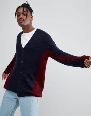 ASOS Knitted Cardigan With Colour Block Design In Navy