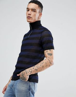 ASOS Knitted Mesh Half Zip Jumper In Navy Stripes