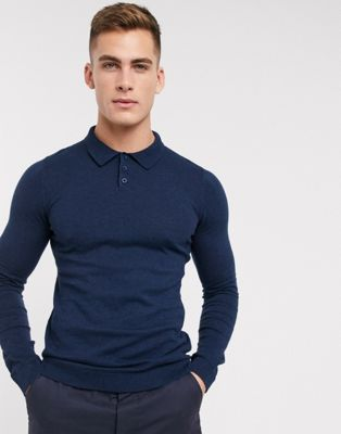 ASOS Knitted Muscle Fit Polo In Navy