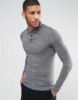 ASOS Knitted Muscle Fit Polo Shirt In Grey Twist