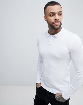 ASOS Knitted Muscle Fit Polo Shirt In White