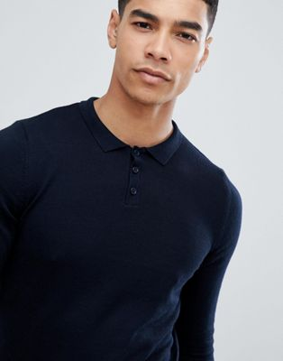 Image 1 of ASOS Knitted Muscle Polo in Dark Navy