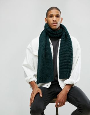 ASOS Knitted Scarf In Bottle Green