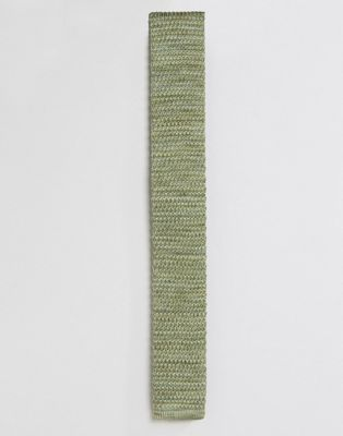 Image 1 of ASOS Knitted Tie In Green Marl