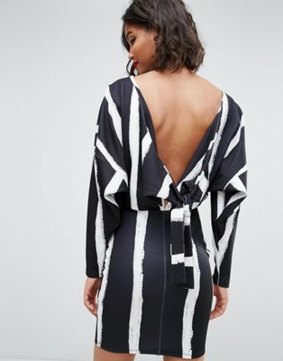 ASOS Knot Back Batwing Dress In Blurred Stripe Print