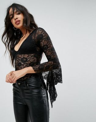 ASOS Lace Body With Fall Away Ruffle Sleeve