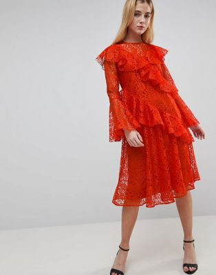 ASOS Lace Deconstructured Tshirt Midi Dress