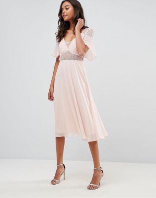ASOS Lace Insert Flutter Sleeve Midi Dress