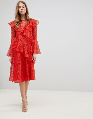 ASOS Lace Midi Dress with Ruffles and Fluted Sleeves