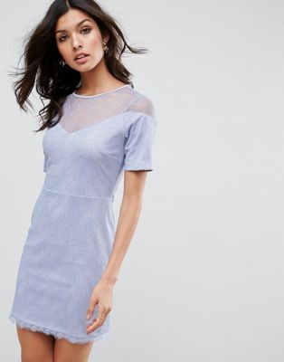 Image 1 of ASOS Lace T-Shirt Dress With Sweetheart Neckline