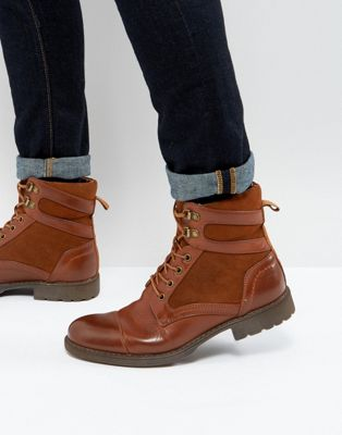 Image 1 of ASOS Lace Up Boots In Tan Faux Leather With Faux Suede Detail