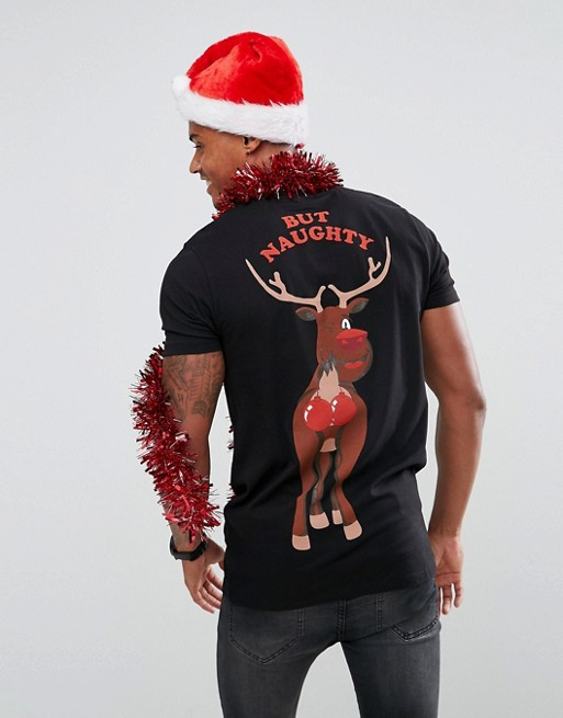 ASOS - Lang kerst T-shirt met Nice But Naughty rendierenprint