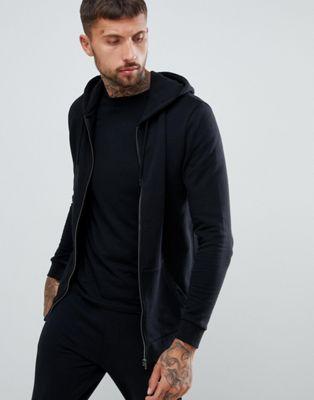 ASOS - Lange hoody met rits in zwart
