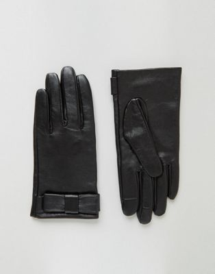 Image 1 of ASOS Leather Bow Gloves With Touch Screen