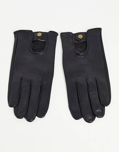 ASOS Leather Driving Gloves In Black