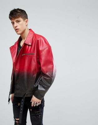 ASOS Leather Oversized Asymmetric Biker Jacket