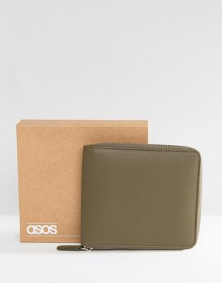 ASOS Leather Oversized Zip Around Wallet In Khaki