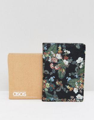 ASOS Leather Passport Cover In Floral Design
