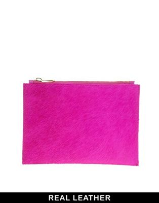 Image 1 of ASOS Leather Pony Zip Top Clutch Bag