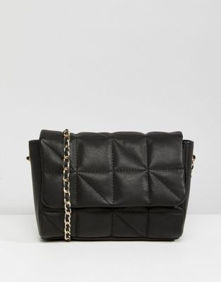 ASOS Leather Soft Quilt Cross Body Bag With Chain Strap