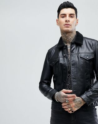 ASOS Leather Trucker Jacket With Borg Collar In Black