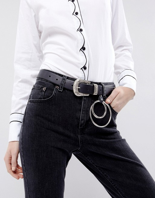 ASOS Leather Western Jeans Belt With Ring Detail