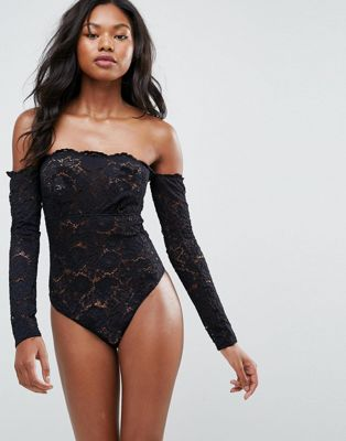 ASOS Lex Premium Lace Long Sleeve Off Shoulder Body