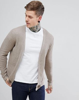 ASOS Lightweight Cable Cardigan In Oatmeal