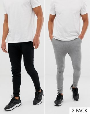 ASOS Lightweight Skinny Joggers 2 Pack Black/ Grey Marl SAVE