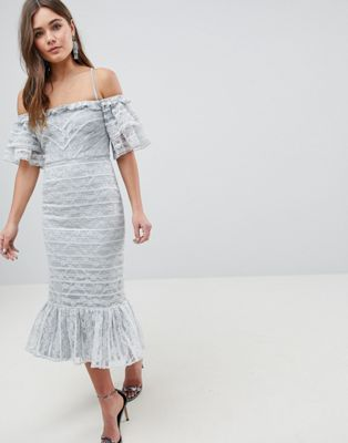 Image 1 of ASOS Linear Lace Pencil Midi Dress with Ruffle Detail