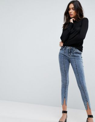 ASOS LISBON Mid Rise Skinny Jeans in Dixie Light Acid Wash With Vent Hem