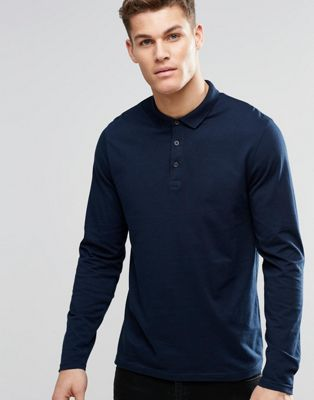 ASOS Long Sleeve Jersey Polo In Navy