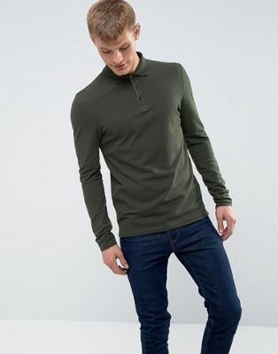 ASOS Long Sleeve Muscle Fit Polo In Pique In Green