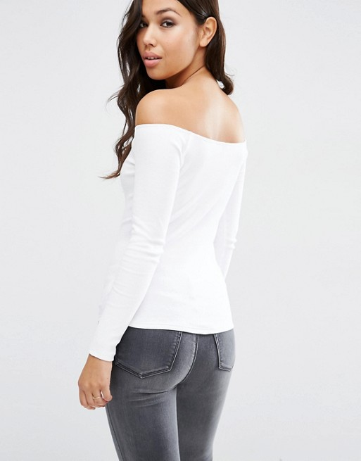 e3bc5e100a2ab4 ASOS Long Sleeve Off Shoulder Top in Rib