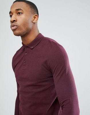 ASOS Long Sleeve Pique Polo With Button Down Collar