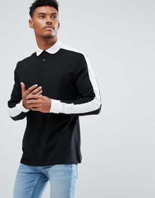 ASOS Long Sleeve Polo In Relaxed Fit With Contrast Sleeve Panels