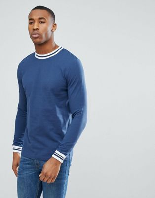 Image 1 of ASOS Long Sleeved T-Shirt With Contrast Tipping In Pique