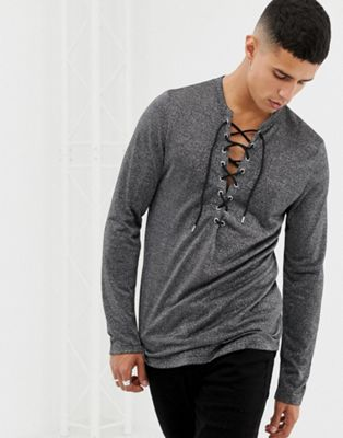 ASOS Longline Long Sleeve T-Shirt With Deep V Neck In Silver Metallic Fabric
