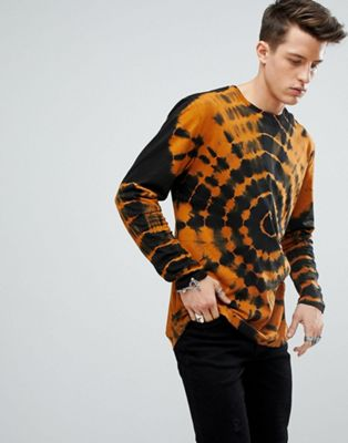 ASOS Longline Long Sleeve T-Shirt With Spiral Tie Dye In Rust