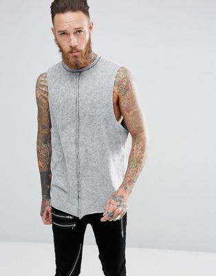 ASOS Longline Sleeveless T-Shirt With Dropped Armhole In Acid Wash