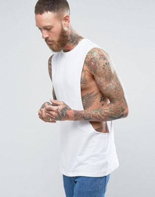 ASOS Longline Sleeveless T-Shirt With Extreme Dropped Armhole