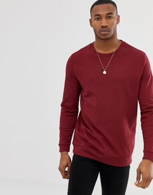 ASOS Longline Sweatshirt In Burgundy