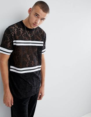 ASOS Longline T-Shirt In Lace With Monochrome Rib Taping